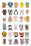 Set of cartoon animal pixel Royalty Free Stock Image