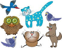 Set of cartoon animals. Vector illustration Royalty Free Stock Photography