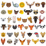 Set Cartoon Animals from all over the world,  muzzle animal, avatar isolated on white background. Vector Royalty Free Stock Images