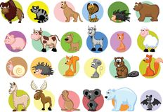 Set of cute marine cartoon animals,vector Stock Images