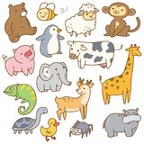 Set of cartoon animals royalty free illustration