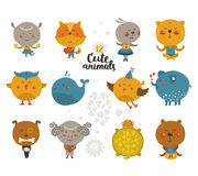Set of Cartoon animals Royalty Free Stock Photos