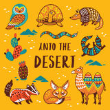 Set with cartoon animals of desert. Into the desert. Print with cartoon characters. Vector illustration Royalty Free Stock Images