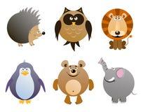Set of cartoon animals - elephant, hedgehog, owl, penguin, bear, lion. Vector illustration royalty free illustration