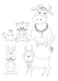 Set cartoon animals, outline Stock Photo