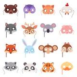 Set of cartoon animals party masks vector. Stock Image