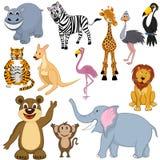 Set of 12 Cartoon Animals Stock Photos