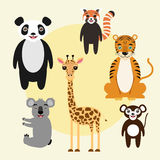 Set of cartoon animals. Set of vector cartoon animal characters. Panda, tiger, giraffe, red panda, monkey, koala. Children illustration Stock Photos