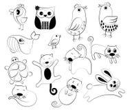 Set of cartoon animals Vector Design. Pet and Bird Stock Images