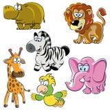 Set of cartoon animals. Vector illustration. cartoon animals set of six figures Stock Photo