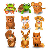 Set of cartoon animals. On a white background Stock Photography