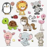 Set of Cartoon Animals on white background royalty free illustration