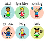 Set Cartoon athletes. Set Cartoon cheerful athletes of different nationalities with captions Royalty Free Stock Images