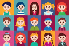 Set of cartoon avatars Stock Photography