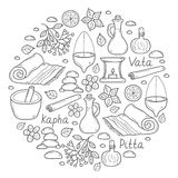 Set of cartoon ayurvedic hand drawn objects  Stock Photo