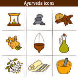 Set of cartoon ayurvedic icons in hand drawn style Stock Photo