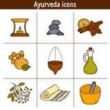 Set of cartoon ayurvedic icons in hand drawn style Stock Photo