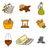 Set of cartoon ayurvedic icons in hand drawn style Stock Photography