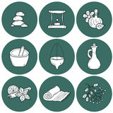 Set of cartoon ayurvedic icons in outline hand Stock Photos