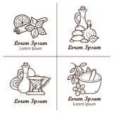 Set of cartoon ayurvedic logos or badges in hand Royalty Free Stock Photo