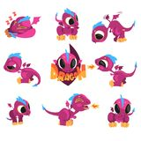 Collection of cartoon baby dragon for game design. Set of cartoon baby dragon in different situations isolated on white. Sleeping, flying, fire breathing Stock Photography