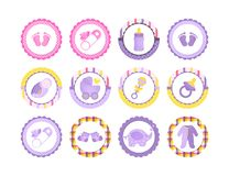 A set of Cartoon Baby shower tag for girl and boy, sticker for shopping list, market advertising. royalty free illustration