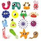 Set of cartoon bacteria, fun characters, cute monsters with different shapes, colors and facial expressions. Funny virus. Cell and microbe. Cartoon design stock illustration