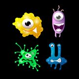 Set of cartoon bacteria, fun characters, cute monsters with different shapes, colors and facial expressions. Funny virus cell and microbe. Cartoon design Stock Photography