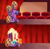 Set of cartoon banners with a cinema hall, screen and red curtains. Stock Photo