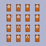 Set of cartoon bear stickers emoticons. Character design. Bear face emotions Royalty Free Stock Photo