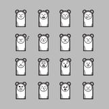 Set of cartoon bear stickers emoticons. Character design. Bear face emotions Stock Photo