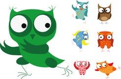 Set of cartoon birds - owls,vector royalty free illustration