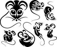 Set of cartoon black mice Stock Photography