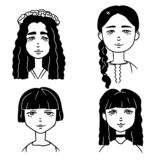 Set of cartoon black and white sketches of cute girls. Doodle style illustration of girls portraits stock illustration