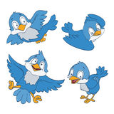 Set of cartoon blue birds on white Stock Images
