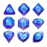 Set of cartoon blue jewels Stock Image