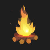 Set of cartoon Bonfire on logs on black background isolated  illustration. Camping fire Royalty Free Stock Images