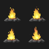 Set of cartoon Bonfires with stones on black background isolated  illustration. Camping fire evolution Royalty Free Stock Images