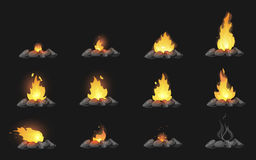 Set of cartoon Bonfires with stones on black background isolated  illustration. Camping fire evolution Stock Images