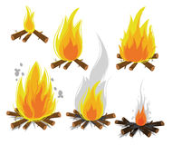 Set of cartoon Bonfires on white background. Camping fire evolution.  illustration Stock Image