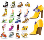 Set of cartoon boots characters Royalty Free Stock Photos