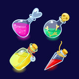 Set of Cartoon Bottles  potion. Vector illustration. Set of Cartoon Bottles of potion.Glass flasks with colorful liquids isolated on a dark background.icon game Stock Images