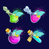 Set of Cartoon Bottles  potion with wings. Vector illustration. Set of Cartoon Bottles of potion with wings.Glass flasks with colorful liquids  on a dark Stock Photo