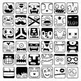 Set of cartoon box face silhouettes Stock Images