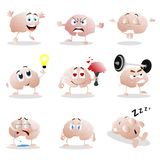 Set of cartoon brain emotion. Funny clip graphic characters. Illustration of brain crying and angry, meditation and thinking, sad and sleep, depressive and stock illustration