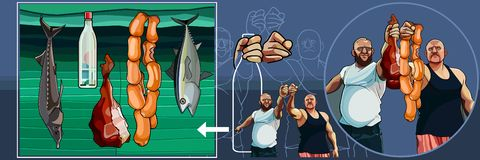 Set of cartoon brutal men with fish and meat