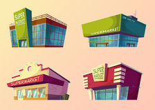 Set of cartoon buildings of modern supermarkets and old shops Stock Image