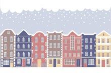 Set of cartoon buildings in winter Stock Photo