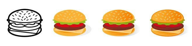 Set cartoon burger royalty free illustration