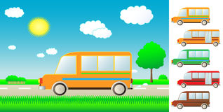 Set cartoon bus on the road. Set cute cartoon bus on summer road stock illustration